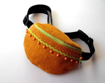 SALE*** 50% OFF in June*** fanny pack/hip bag - ochre, rose and green (big size)