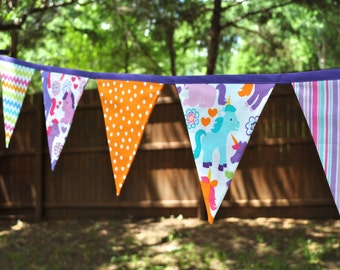 Rainbow Unicorns girls fabric banner bunting, unicorn birthday party decoration, photo prop, girls room decor, rainbow colors