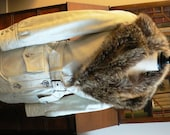 vintage coat ... LANTRY LEATHER creamy ivory toned with stunning genuine FUR Collar rare find 1970 -  wow retro wow ...