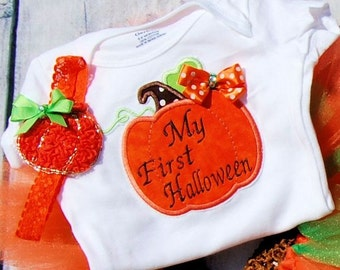 Babies First Halloween Pumpkin tutu-- Babies First Halloween Shirt-- Baby Pumpkin Shirt-- Pumpkin dress- Pumpkin tutu- First Halloween tutu