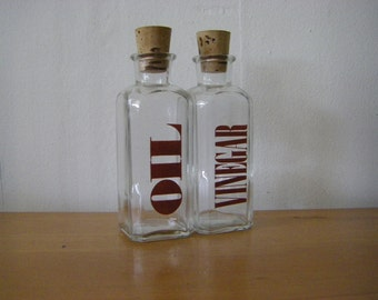 Oil and Vinegar Typography Cruet Set// Bottle Set