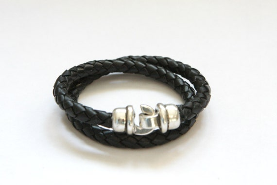 Men Women Bracelet - Dad Gift Leather Bracelet hook clasp