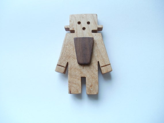 robot fridge magnet wood maple scroll saw