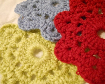 Flower Coasters--Red, Green and blue