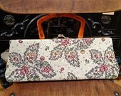 Tapestry clutch with Tortoise handle