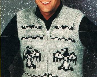 Cowichan Sweater Vest White Buffalo Wool  Knitting Pattern Standing Eagle B6400 PDF Instand Download on Etsy