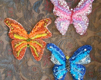 1960's Beaded Sequined Butterfly Appliques