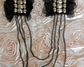 Silver Beaded Black Rosette Appliques