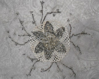 1920's Beaded Floral Applique