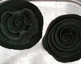 Black Pleated Cabbage Rose Pins