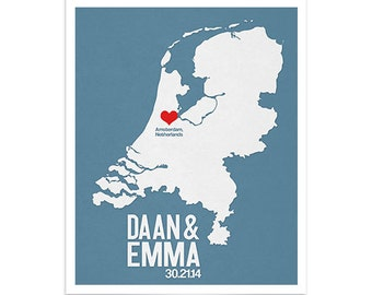 The Netherlands Wedding Gift - Personalized Europe - Custom Destination - Date City and Country Modern Art Print -  Amsterdam