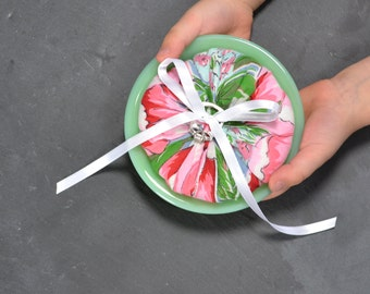 Vintage Ring Bearer Pillow - Wedding Ring Dish -  Vintage Handkerchief in Jadite Bowl - Vintage Wedding Keepsake - Ready to Ship