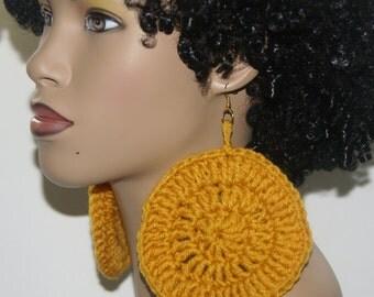 Large Crochet Earrings- Gold