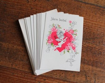 Vintage Valentines Day Party Invitations - Set of 12