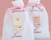 Wedding Favor Bags 2 Embroidered Personalized Lingerie Travel Bridemaid Bag Wedding Shower Gifts, Bridesmaid Party Gifts