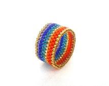 Rainbow Ring, Seed Bead Ring, Multicolored Beaded Ring, Pride Ring, Rainbow Jewelry, UK Seller