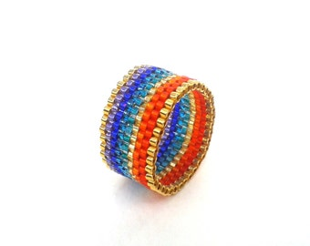 Rainbow Ring, Seed Bead Ring, Multicolored Beaded Ring, Pride Ring, Rainbow Jewelry, UK Seller