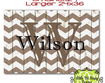 Personalized Door Mat Chevron Distressed Wood design Floor Mat Monogram Tan White