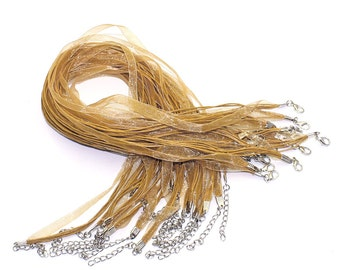 """20 Organza Necklaces - WHOLESALE - Gold with Waxed Cord & Clasps -  17"""" - Ships IMMEDIATELY  from California - CH296a"""