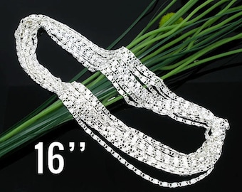 """10 WHOLESALE Necklaces Silver 1.2mm Link Chains - Knurled -  16""""  - Ships IMMEDIATELY  from California - CH269a"""