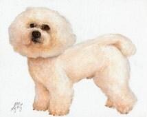 Original Oil Art BICHON FRISE Portrait Painting White DOG Artist Signed Artwork Puppy