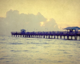 Ocean Photography, Neutral Beach Wall Art, Pier Photograph, Florida Picture, Vacation Home Decor