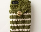 Stash Prints - Handknit phone sweater case with back pocket card holder