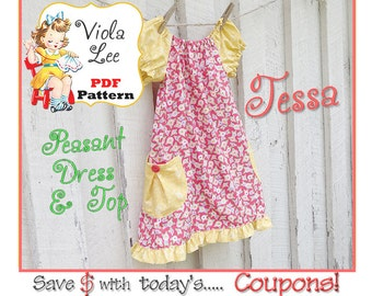 Toddler Long Sleeve Peasant Dress Pattern, Girl's Sewing Pattern. Toddler Top Pattern. Short Sleeve Dress -Top Sewing Pattern. Tessa