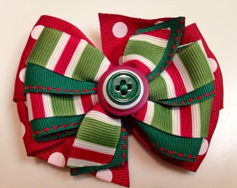 Red & White Candy Cane Green Peppermint HOLIDAY CHRISTMAS  Boutique Style Ribbon Bow Handmade for PETS Dog Collar Accessory