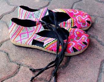 Vegan Womens Espadrille With Ankle Wrap Flat Shoe, Hmong Embroidery & Batik - Dahlia Wrap