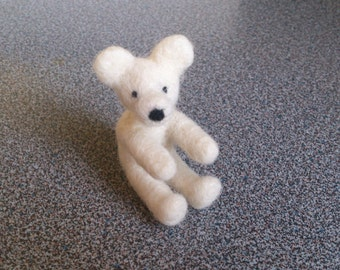 Miniature teddy bear needle felted in white wool gift under 25