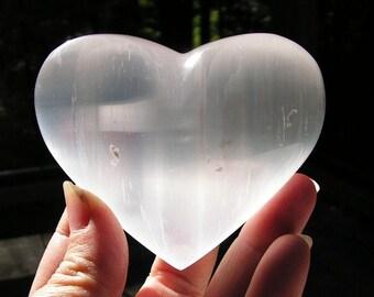 Selenite heart, polished crystal heart, metaphysical, new age, healing stone