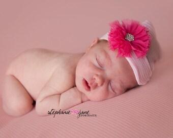 First Bow Newborn Hospital Hat Hot Pink Shabby Chic Flower (newborn girl hat, newborn beanie, newborn hospital hat with bow, first bow)
