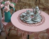 Dollhouse Miniature Vintage Style in Vintage White Tea Coffee Set with Silver Accents and Rose Motif