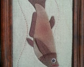 A Fish - Dark red color - stitched original art