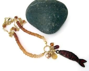 Koi Fish Necklace Koi Fish Charm Necklace Koi Fish Pendant Beach Jewelry Koi Charm Pendant Koi Jewelry Fish Jewelry Summer Style Trends Gift