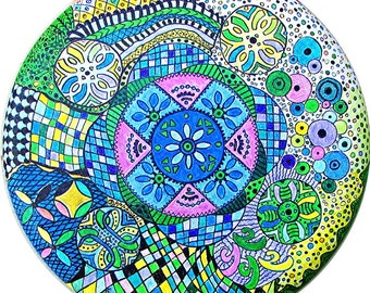 Zentangle Inspired Art, Mandala, Hippie, Boho, Modern Cubism, Original Painting ready to hang by ebsq Artist Ricky Martin  FREE SHIPPING