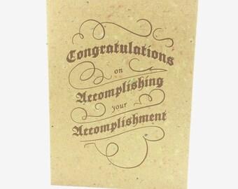 Handmade Congrats Card - Congratulations on your Accomplishment