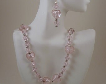 Pink Glass Hearts Necklace and Earrings