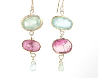 Miss Matched: Aquamarine & Pink Tourmaline Earrings