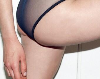 Sheer navy knickers / panties