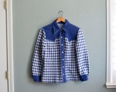 1960s MED/LRG POLYESTER woman's royal blue and white western button down
