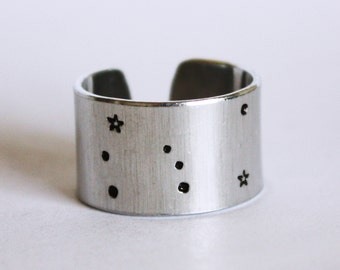 Orion Constellation Ring. Orion constellation jewelry. Wide band constellation ring. Birthday gift. Zenned Out. RTS RA018