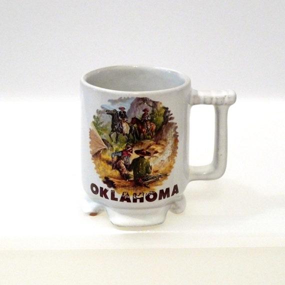 frankoma c1 mug oklahoma cup cowboy coffee cup western coffee. Black Bedroom Furniture Sets. Home Design Ideas