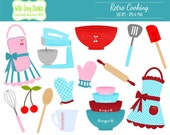 50% OFF  Cooking Clipart - Baking Clipart - Retro Cooking Clip art - Kitchen Clipart - Bridal Shower Clipart