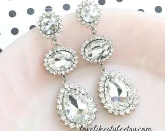 Silver Teardrop Crystal Earrings, Bridesmaid Earrings, Bridal Wedding Jewelry