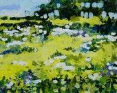 "Original Abstract Landscape Painting, 5 x 7, Acrylic - ""Summer Garden"""