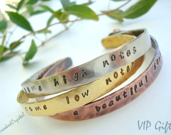 Personalized Cuff Bracelet- Copper - Brass - Silver - Handstamped - Message - Inspirational - Stack Bracelets - Skinny Cuffs