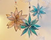 Set Of Three 3D Stained Glass Suncatchers. Set Of 3 Flowers. Flowers of Life - Swirls.