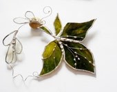 Olive Green Maple Leaf, Stained Glass Suncatcher, Autumn Leaf, Made to order.